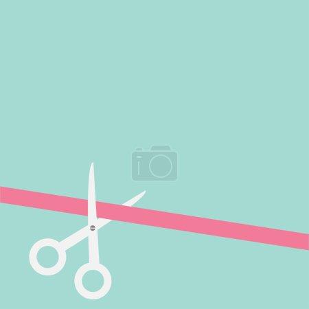 Scissors cut straight ribbon on the left