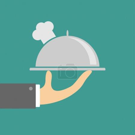 Illustration pour Main tenant cloche plateau d'argent avec chapeau de chefs. Illustration design plat - image libre de droit