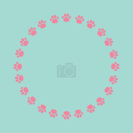 Paw print round frame