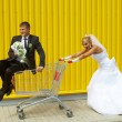 Funny bride and groom playing with a basket of supermarket