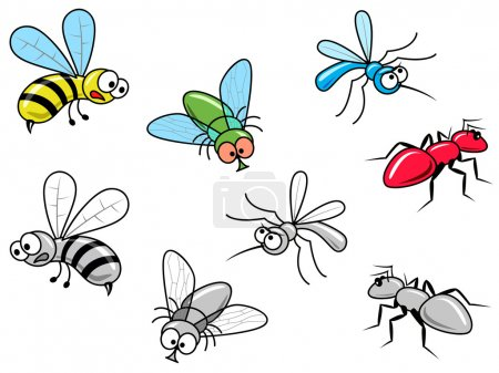 Illustration for Vector image of four color and bw insects. - Royalty Free Image