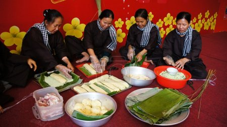 Group of people making traditional