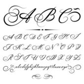 Vector hand drawn calligraphic Alphabet based on calligraphy masters of the 18th century