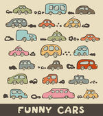 Set of hand drawn funny cars in color