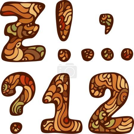 Illustration pour Alphabet coloré dessiné à la main drôle vecteur avec des signes de ponctuation et des chiffres - image libre de droit
