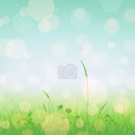 Illustration for Meadow landscape with grass and flowers silhouettes and blue sky - Royalty Free Image