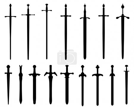 Black silhouettes of swords, vector...