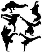 Silhouette of sequence of hip hop dancer vector