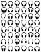 Big set of black silhouettes of headphones vector