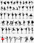Black ballerina silhouettes on gray background vector