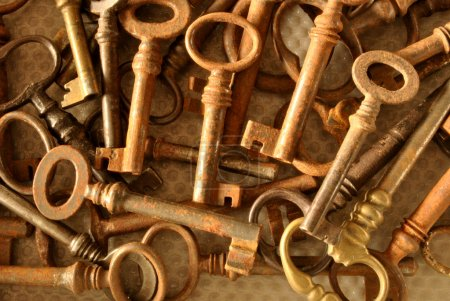 Photo for Series of rusty antique keys to open doors old - Royalty Free Image
