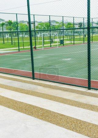 Concrete bench for spectators at futsal court