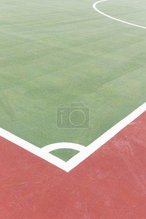 Corner arcs line in futsal court.