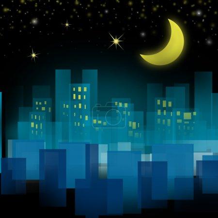 Photo pour Ville la nuit avec lune et étoiles sur le ciel - image libre de droit