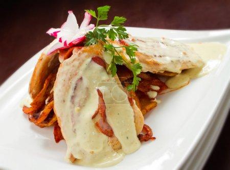 Photo pour Délicieux poulet Saltimbocca au prosciutto et sauce au fromage. Plus de photos délicieuses dans ma galerie - image libre de droit