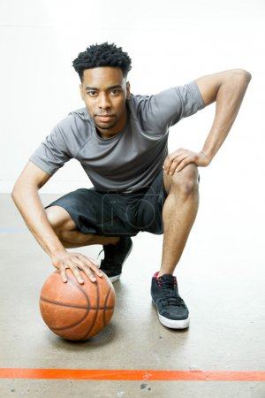 Attractive afro-american basketball player