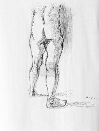 Photo pour Illustration de la partie inférieure du corps humain. photo faite au crayon noir - image libre de droit