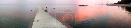Photo for Boat pier at sunset. Beautiful landscape. - Royalty Free Image