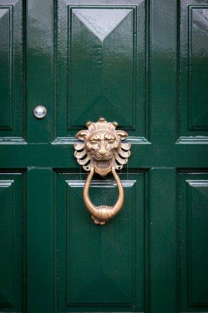 The green wooden door  with door knocker in form o...
