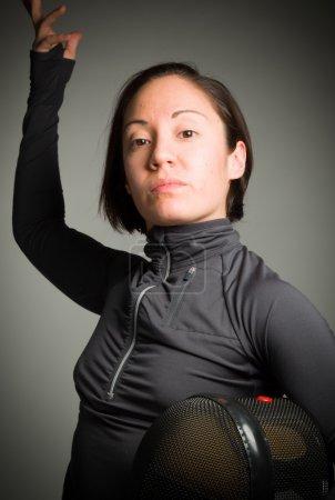 Fencer wearing uniform
