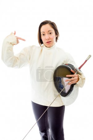 Fencer holding  mask and sword