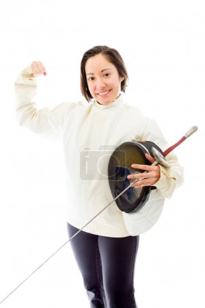 Fencer with flexing biceps