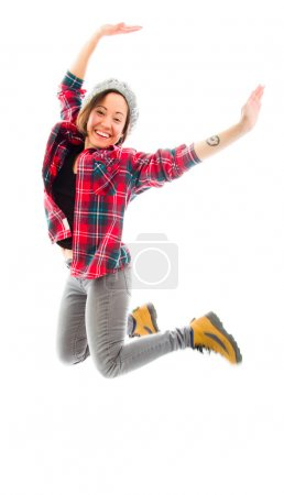 Woman jumping in air