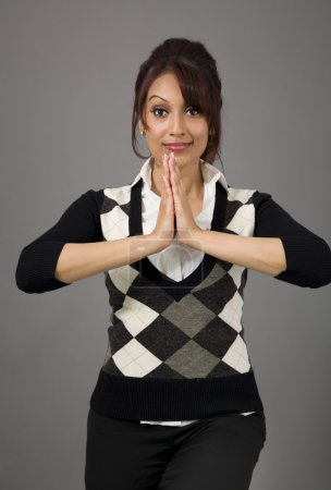 Businesswoman welcoming with hands