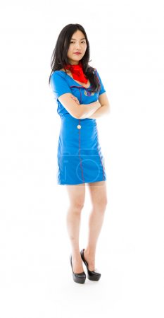 Stewardess with arms crossed
