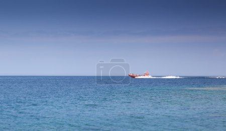 Speedboat moving in a bay