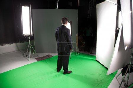 Male model in film studio