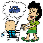 Mother shopping with her son
