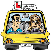 Instructor teaching a girl to drive a car Hand drawn illustration on vector format