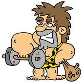 Cartoony caveman fixing his body weight training