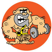Cartoony ugly caveman fixing his body weight training