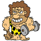 Cartoony brown bearded caveman fixing his body weight training