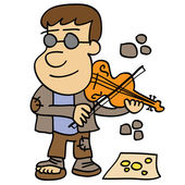 Beggar playing the violin asking for money at the street Hand drawn illustration in vector format