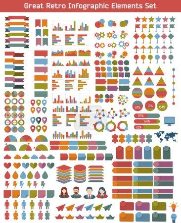 Illustration pour Ensemble d'éléments infographiques plats. Modèle coloré pour vous conception, applications Web et mobiles . - image libre de droit