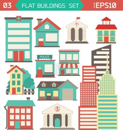 Modern flat vector buildings set.