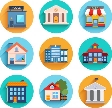 Modern flat vector buildings set.