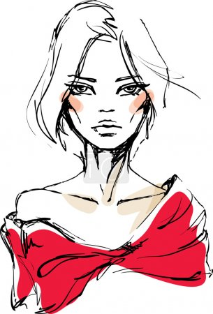 Illustration for A sketch of the young woman in a red dress with a bow - Royalty Free Image