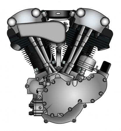 Illustration pour Moteur de moto V-twin classique - image libre de droit