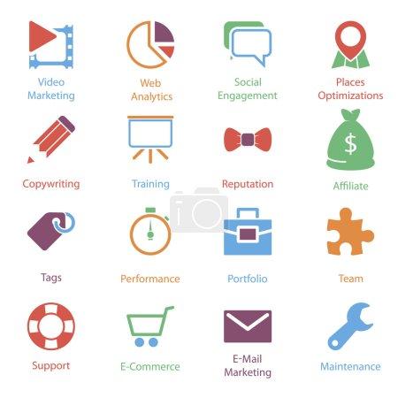 Illustration pour Couleur des icônes vol 2 de marketing sur internet - image libre de droit