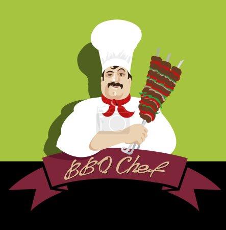 Illustration pour Illustration, Chef oriental cuisinier kebab de viande - image libre de droit