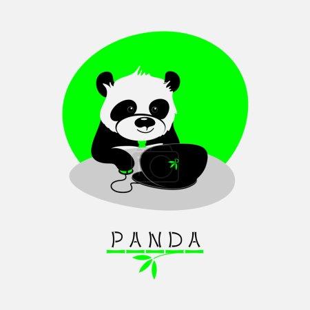 Vector illustration with cartoon panda sitting at his notebook