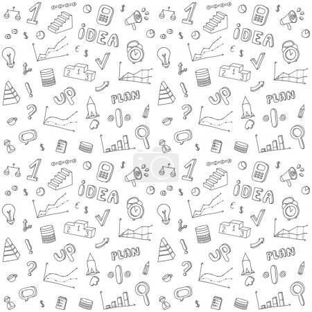 Illustration pour Modèle sans couture des éléments de conception infographique dessinés à la main d'affaires et de finances. Ensemble de vecteurs Doodle . - image libre de droit