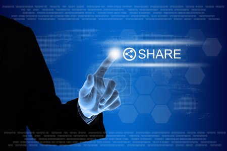 Business hand clicking share on social networking button