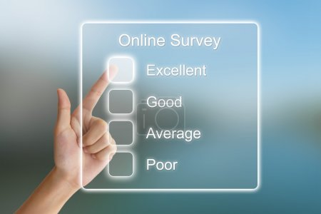 hand pushing online survey on virtual screen