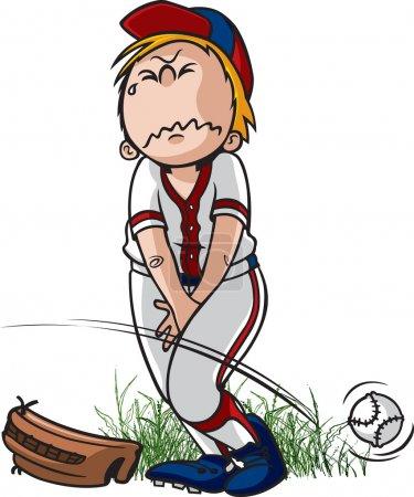 Illustration pour Un joueur de baseball de petite ligue de dessin animé qui doit faire pipi. Fichiers jpeg vectoriels et haute résolution disponibles . - image libre de droit