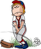 A cartoon Little League Baseball Player who has to pee Vector and high resolution jpeg files available